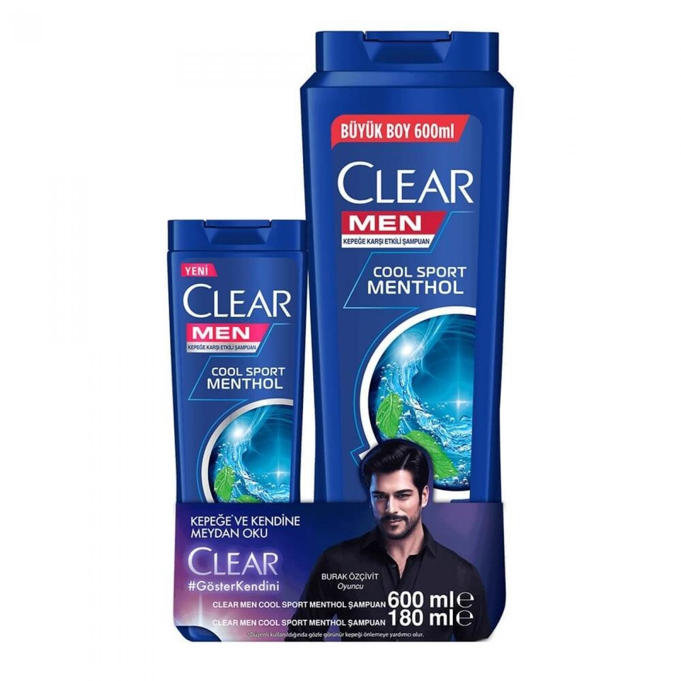 CLEAR ŞAMP.600ML+180ML HEDİYE COOL SPORT MENTHOL